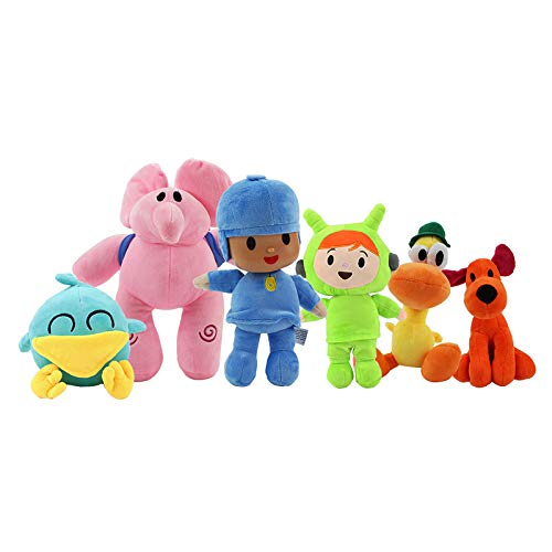 kelee Plush: Pocoyo Plush Toys Set Pocoyo Loula Elly Pato Sleepy Bird Nina Cartoon Stuffed Animal Figure Doll Collection Gift for Kids (5.5'-12') (D-Set of 6)