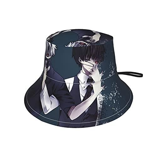 LAOLUCKY Tok-yo Gh-ou-l Ka-neki Blood Bucket Hut Sonnenschutz für Jungen Mädchen Strand Stilvoll Leicht Hüte Kordelzug Reise Outdoor Fisherman Cap Gr. Small, Toky-o Gho-u-l Kanek-i K-en Face