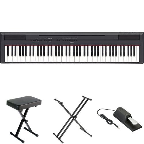 Yamaha P115 Digital Piano Bundle with Bench, Stand, and Sustain Pedal, Black