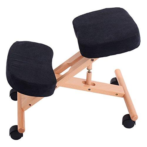 Siège assis-genoux ergonomique réglable de Pro 11 Wellbeing - 3 couleurs, Noir , 70 x 50 x 45 cm