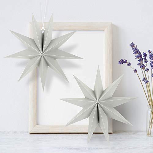 KATELUO 30cm Papier Stern Dekoration,3D Sterne Form für Weihnachten,Papierstern Weihnachtsdeko,weihnachtsdeko papierstern.(2 Stück) (Grau)