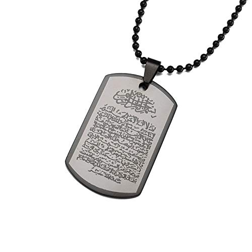 VAWAA Edelstahl Islam Koran Surah Koran Ayatul Kursi Charm Anhänger Halskette Für Muslim W / 60 cm Lange Kette