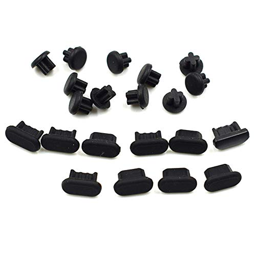 Hxchen Silicone Anti Dust Plugs - Compatible Android Micro USB Port & Headphone Jack - Cell Phone Dust Plug Set Black - (10 Sets)