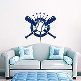 JJHR Stickers Muraux Baseball Sticker Crossed Bats Decal Sport Sticker Chambre Décor Stickers Muraux Home Decor Salon 43 * 42 Cm
