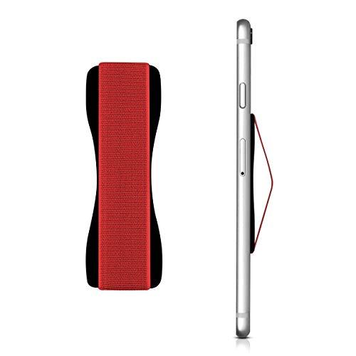 kwmobile Supporto Dita Cellulare - Sostegno adesivo universale con elastico - Fascetta mano Compatibile con iPhone Samsung Galaxy Huawei - nero rosso
