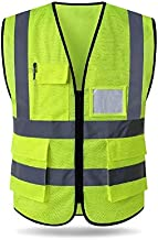 HYCOPROT High Visibility Mesh Safety Reflective Vest with Pockets and Zipper, Meets ANSI/ISEA Standards (S, Yellow)