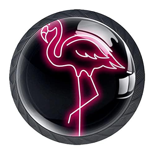 Tirador de la perilla del cajón 4 piezas El cajón del gabinete de vidrio de cristal tira las perillas del armario,Pink Flamingo Vector Neon