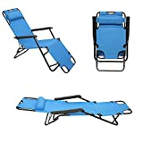 Folding Patio Lounge Chair, Portable Outdoor Reclining Chair, Pool Side Beach Lawn Chaise Chair with Pillow for Travel, Picnic and Camping, Blue