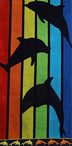 Betz Toalla de Playa de Terciopelo Toalla de baño 100% algodón 70x140 cm diseño DELFÍN