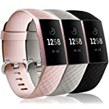 Wepro Waterproof Bands Compatible with Fitbit Charge 4 / Charge 3 / Charge 3 SE for Women Men, 3-Pack Replacement Wristbands for Fitbit Charge 3 / Charge 4, Large, Pink Sand, Slate Gray, Black