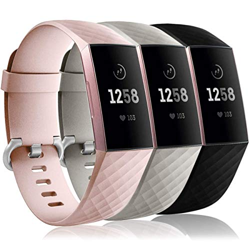 Wepro Waterproof Bands Compatible with Fitbit Charge 4 / Charge 3 / Charge 3 SE for Women Men, 3-Pack Soft Replacement Wristbands for Fitbit Charge 3 / Charge 4, Large, Pink Sand, Slate Gray, Black