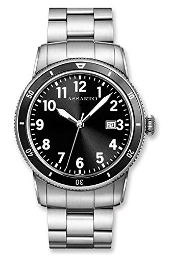 ASSARTO Watches ASH-8830W/B-BLK Oceantime-Series Taucheruhr mit Schweizer Uhrwerk und Saphirglas, Herrenuhr, Elegante Uhr, Edelstahluhr, Armbanduhr, Quarzuhr, Sportuhr, Unisexuhr, Damenuhr