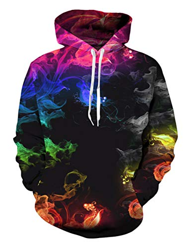 Funnycokid Teen Boys Hoodies Cool Pullover 3D Fire Graphic Unisex Hoody Mens Long Sleeve Causal Hooded M Size