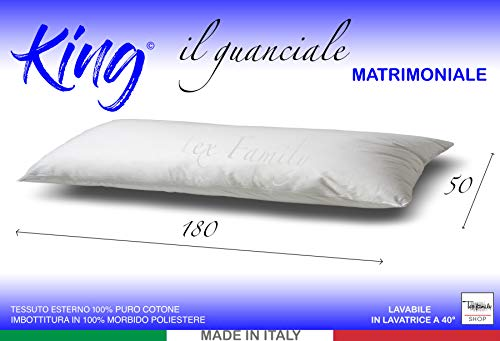 Tex family Almohada King para cama de 2 plazas de matrimonio largo 180 cm medidas 50 x 180 cm