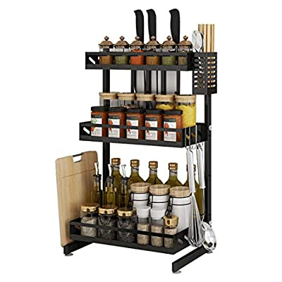 Ctystallove 3 Tier Metal Kitchen Spice Rack Countertop Standing Corner Shelf Removable Seasoning Organizer Jars Bottle Storage Knife Utensils Holder with 3 Hooks, Black by