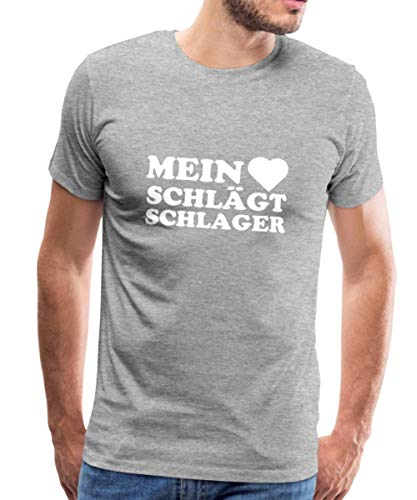 Mein Herz Schlägt Schlager Schlagermusik Männer Premium T-Shirt, S, Grau meliert