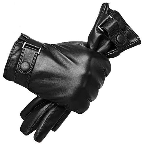 Knuffelige handschoenen van echt PU voor heren, winter, warm, touchscreen, tekst, kasjmier Lined