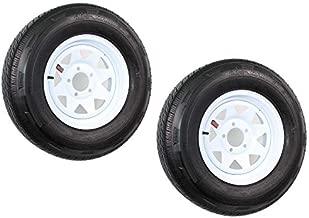 2-Pack Mounted Trailer Tire On Rim ST205/75R14D 14X5.5 (5 on 4.5) White Spoke