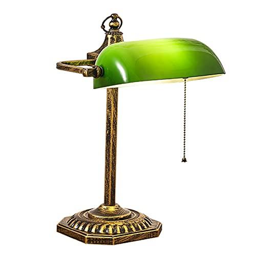 ZRN Lámpara de Escritorio Retro Tradicional, Luces de Mesa de banquero con Pantalla Verde, Pantalla Ajustable, (Bombillas no Incluidas)