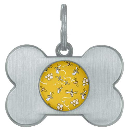 Personalized Pet Tags for Dogs and Cats, Honey Bees Pet Id Tag Pet Gifts - Bone Stainless Steel