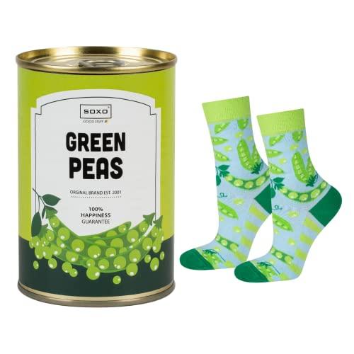 soxo lustige Damen Socken Geschenkdose | Größe 35-40 | Bunte Damensocken aus Baumwolle mit witzigen Motiven | Besondere, mehrfarbig gemusterte Lange Socken für Frauen | Erbsen