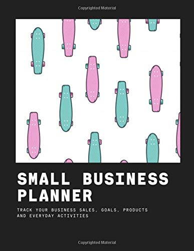 Small Business Planner - track your business sales, goals, products and everyday activities: longboard with stylish colors pink turquoise - Income Expense Inventory Order Suppliers Tracker