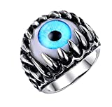 PAURO Men's Stainless Steel Dragon Claw Evil Devil Skull Eyeball Ring Gothic Biker Unique Blue Eyes Size 10