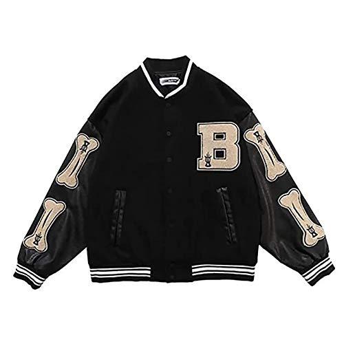 GYYlucky Unisex Varsity College Jacke High School Baseball Jacken Sweat Jacke Vintage Streetwear Patchwork Sportjacke (Color : Black, Size : M)