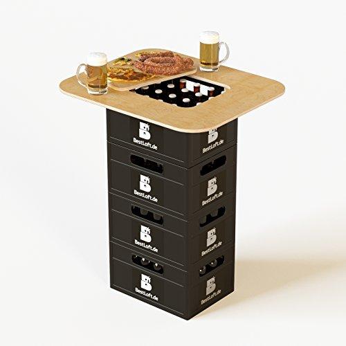Original BestLoft® Tischaufsatz für Bierkasten – Stehtisch Partytisch Bistrotisch Tischaufsatz 70x58cm (Aufsatz+Servierbrett) - 6