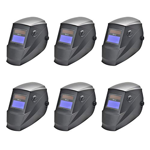 Antra AH6-260-0000 Solar Power Auto Darkening Welding Helmet with Wide Shade Range 4/5-9/9-13 with Grinding Feature Extra lens covers Good for TIG MIG MMA Plasma (6-(Pack))