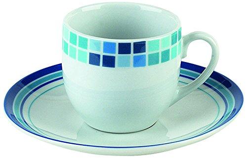 Tognana Olympia mosaïque Tasse à café et Soucoupe-Lot de 2–Bleu