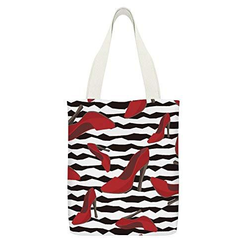 Bolso de lona doble sexy rojo dama zapatos de tacón alto blanco negro ecológico regenerable grande bolsa de transporte bolsa de almuerzo y compra de comestibles bolsa de playa bolsa de mano