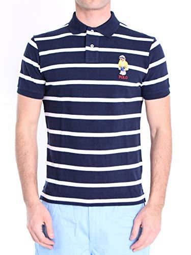 Polo Ralph Lauren Mod. 710795723 Poloshirt Gewaschenes Teddy Bear Kurze Ärmel Piqué Slim Fit Herren Blau M
