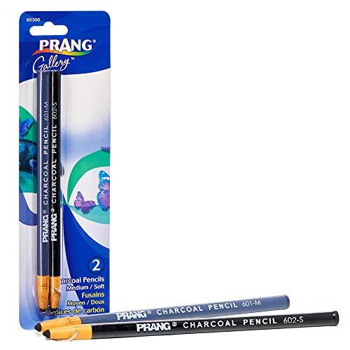PRANG Artist Charcoal Pencil Sets, Set of 2 Charcoal Pencils, 1 Medium and 1 Soft, Black (60300)