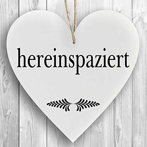 Herzschild Holzherz Holzschild 16 x 16 cm hereinspaziert weiß Dekoschild Wandschild Schild Holz Willkommen