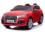 Auto per Bambini Audi Q5 S-Line 2 POSTI Reali Macchina Elettrica 12 Volt 10 ah Batteria Potenziata con Telecomando 2.4 GHz Aria CONDIZIONATA Sedile in Pelle Monitor Touch Screen MP4 (Rosso)