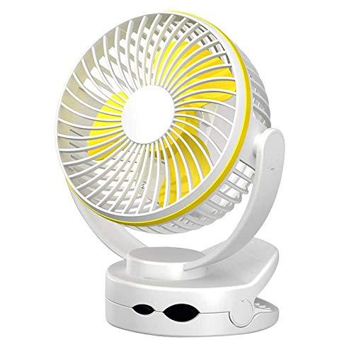 WLGQ Ventilador con Clip, Ventilador USB para Mesa de Escritorio, Funciona con Pilas, Ventilador portátil Ultra silencioso de 4 velocidades para Cochecito de bebé con luz de Noche cálida, ventila