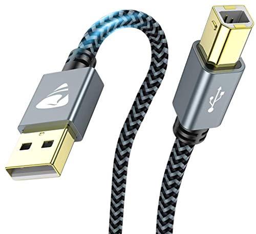 Aioneus Câble Imprimante USB, [2M] Câble USB 2.0 A Mâle vers B Mâle, Cordon Scanner Tressé en Nylon Haute Vitesse Compatible avec HP, Canon, Dell, Lexmark, Samsung, Brother, Pianoetc-Gris