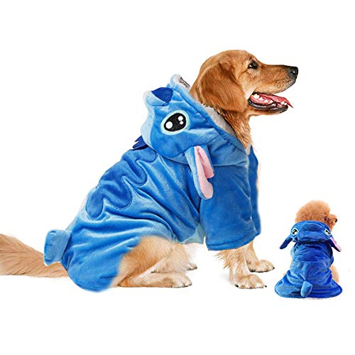 Gimilife Pet Costume, Dog Hoodie,Pet Xmas Pajamas Outfit, Pet Coat for Small Medium Large Dogs and Cats,Pet Disney Stitch Cartoon,Halloween and Winter XL
