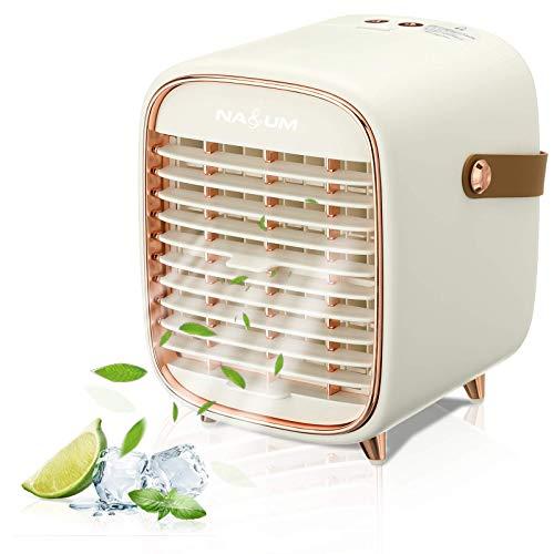 NASUM Luftkühler Mini Klimageräte, 3 Geschwindigkeitsstufen Ventilator Mobile Klimaanlage mit 240ml Wassertankkapazität für Büro, zu Hause, Auto,Camping