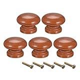 Sourcing Map - Perillas de madera redondas, 5 unidades, 33 x 25 mm DxH, tiradores de cocina, para aparador, armario, color rojo