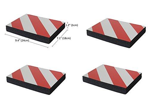 SNS SAFETY LTD Protectoras Paragolpes de Pared Parking, Autoadhesivas, en Grueso Goma Espuma, para Aparcamientos, Garajes y Almacenes, 24x18x3 cm, 4 Piezas (Rojo Blanco)