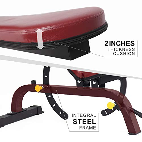 ER KANG Adjustable Weight Bench- 7+4 Positions Body Workout Bench, Multi-Purpose Incline/Flat Bench for Home Gym Strength Training