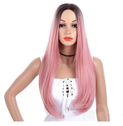 Perruque Lady Rose Bleu Vert Micro Volume Longue Perruque Cheveux raides Perruque synthétique (Color : Black Pink)