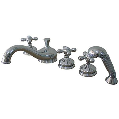 Best Deals! Elements of Design ES33315AX Heritage Three Handle Roman Tub Filler with Hand Shower, Po...