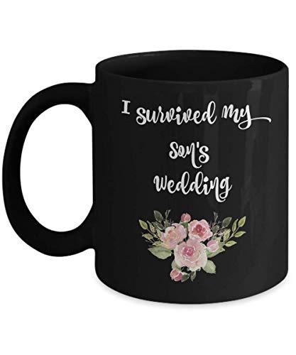 N\A Bamerand sobrevivió a la Boda del Hijo, Madre o Padre del Novio, Compromiso de Boda, Regalo de Agradecimiento, café, té o Taza de cerámica Negra.