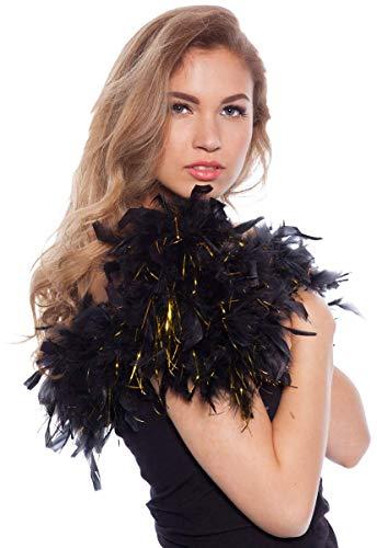 Folat - Boa de Plumas Carnaval o una Fiesta - Negro y Dorado  - 180 cm