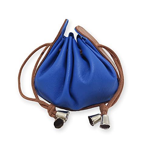 FIONCCI Monedero Mujer Piel Auténtica Tipo Saco con Cordón - Portamonedas de Señora (Azul)