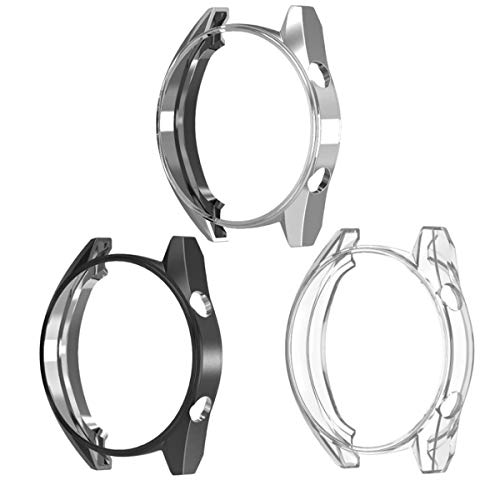 Chofit TPU Case Compatible with Huawei Watch GT, Slim Anti-Scratch Case Cover Protector Compatible with Huawei Watch GT Classic/Sport Smartwatch (3 Pack-B)