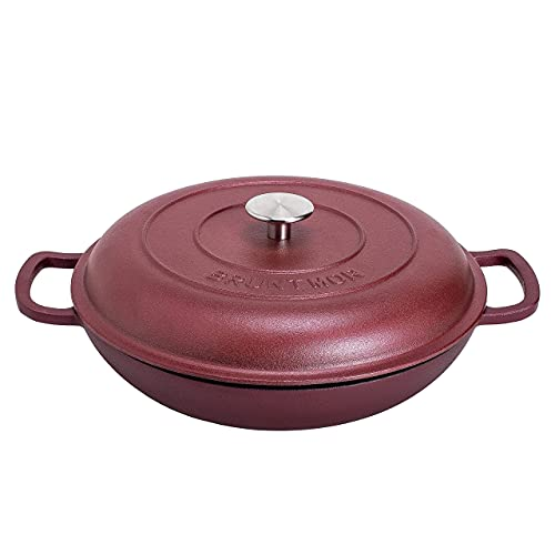 Silicone Oil Non-Stick Enameled Cast Iron Shallow Casserole Braiser Pan with Cover